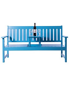 Wooden Patio Garden Park Outdoor Yard Bench With Middle Pop-up Foldable Table