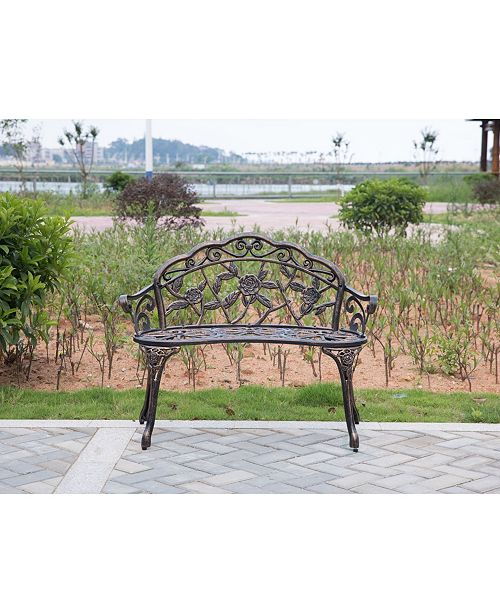 Wondrous Gardenised Bronze Rose Design Patio Garden Park Yard Outdoor Steel Bench Powder Coated Ocoug Best Dining Table And Chair Ideas Images Ocougorg