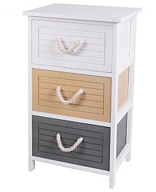 Uniquewise Multi Colored 3 Drawers Storage Chest Nightstand with Rope Handles