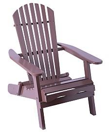 Gardenised Foldable Adirondack Outdoor Wooden Patio Deck Garden Lounge Chair