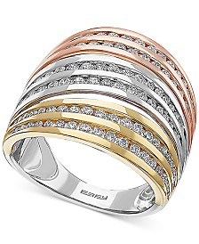 EFFY® Diamond Multi-Row Tricolor Statement Ring (1-1/4 ct. t.w.) in 14k Gold, White Gold & Rose Gold