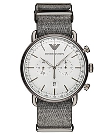 Men's Chronograph Gray Fabric Strap Watch 43mm