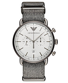 Emporio Armani Men's Chronograph Gray Fabric Strap Watch 43mm