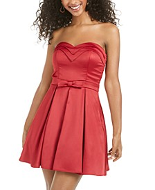 Juniors' Strapless Bow-Detail Dress