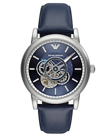 Men's Automatic Blue Leather Strap Watch 43mm