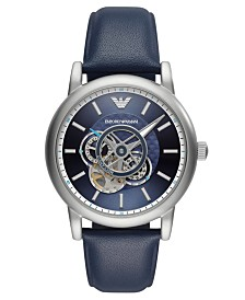 Emporio Armani Men's Automatic Blue Leather Strap Watch 43mm