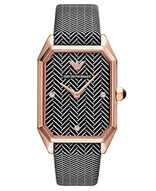 Women's Black & White Chevron Leather Strap Watch 24x35mm