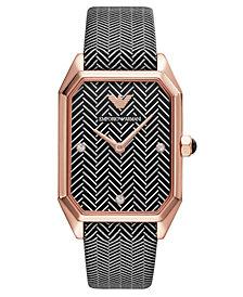 Emporio Armani Women's Black & White Chevron Leather Strap Watch 24x35mm