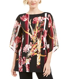 JM Collection Printed Chiffon-Sleeve Tunic Top, Created for Macy's