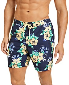 "Men's Hawaiian Classic-Fit Floral-Print 7"" Twill Swim Trunks, Created for Macy's"