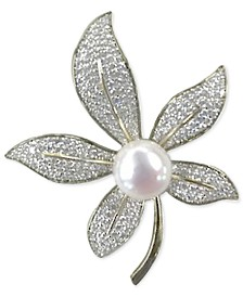 Cultured Freshwater Pearl (10mm) & Cubic Zirconia Lily Pin in Sterling Silver & 14k Gold-Plate