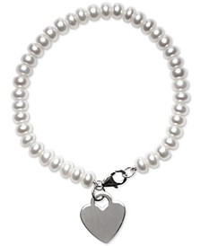 Cultured Freshwater Pearl (6mm) Heart Tag Charm Bracelet in Sterling Silver