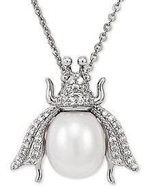"""Cultured Freshwater Pearl (8-1/2mm) & White Topaz (1/4 ct. t.w.) Insect 17"""" Pendant Necklace in Sterling Silver"""