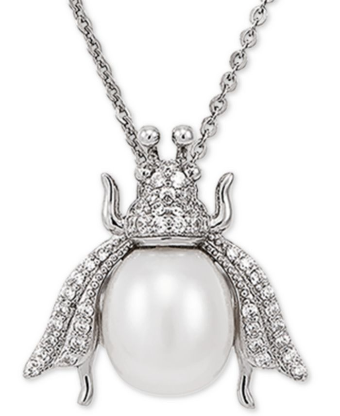 """Macy's - Cultured Freshwater Pearl (8-1/2mm) & White Topaz (1/4 ct. t.w.) Insect 17"""" Pendant Necklace in Sterling Silver"""