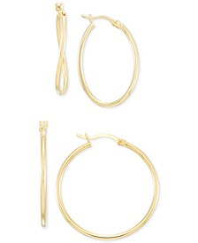Wavy Hoop Earrings 2-Pc. Set in 14k Gold-Plated Sterling Silver