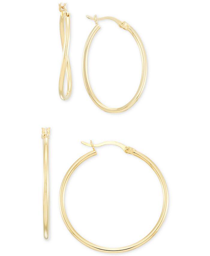 Macy's - Wavy Hoop Earrings 2-Pc. Set in 14k Gold-Plated Sterling Silver