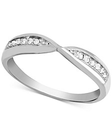 Diamond (1/10 ct. t.w.) Bypass Band Ring in Sterling Silver