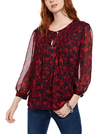 Village Flower Pintucked Blouse