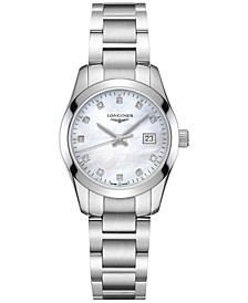 Women's Swiss Conquest Classic Diamond Accent Stainless Steel Bracelet Watch 29.5mm