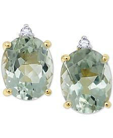 Green Quartz (4-1/2 ct. t.w.) & Diamond Accent Stud Earrings in 14k Gold