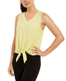 Ideology Striped Tie-Front Tank Top, Created for Macy's