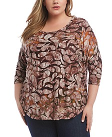 Plus Size Printed Tie-Dyed Top