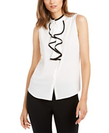 Calvin Klein Sleeveless Piped-Ruffle Blouse