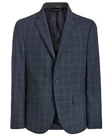 Lauren Ralph Lauren Big Boys Classic-Fit Stretch Navy Blue Windowpane Suit Jacket