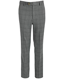 Big Boys Classic-Fit Stretch Light Gray Plaid Suit Pants