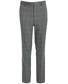 Lauren Ralph Lauren Big Boys Classic-Fit Stretch Light Gray Plaid Suit Pants