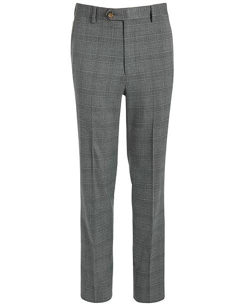 Lauren Ralph Lauren Big Boys Classic-Fit Stretch Light Gray Plaid Suit Pants