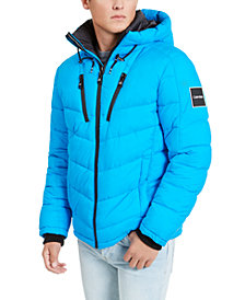 Calvin Klein Men's Neon Puffer With Hood, Created for Macy's