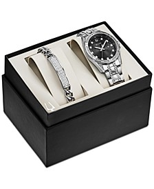 Men's Stainless Steel Bracelet Watch 42mm Gift Set