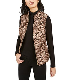 Petite Printed Zip-Front Vest, Created for Macy's