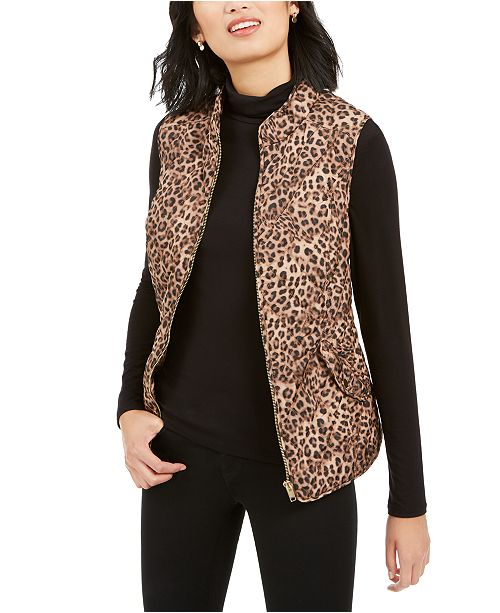 Charter Club Petite Printed Zip-Front Vest, Created for Macy's
