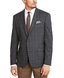 Men's Slim-Fit Stretch Gray Plaid Sport Coat, Created for Macy's