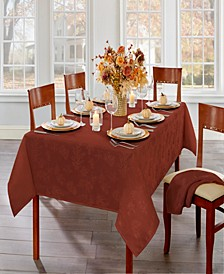 "Elegant Woven Leaves Jacquard Damask Tablecloth, 60"" x 84"" Oblong"