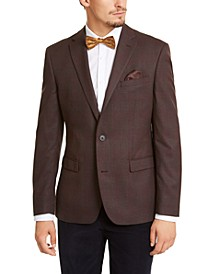 Men's Slim-Fit Burgundy Plaid Sport Coat, Created for Macy's