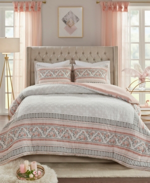 Closeout! Madison Park Moria King/California King 3-Pc. Cotton Printed Clip Jacquard Duvet Cover Set Bedding