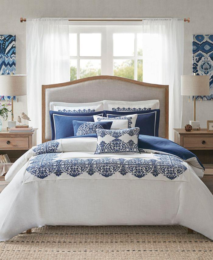 Madison Park Signature - Indigo Sky Queen 8 Piece Faux Linen Oversized Comforter Set