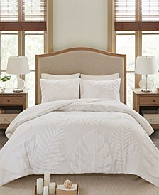 Bahari Full/Queen 3-Pc. Tufted Cotton Chenille Palm Duvet Cover Set