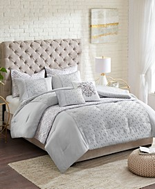 CLOSEOUT! Evie Clipped Jacquard 8-Pc. Comforter and Coverlet Set Collection