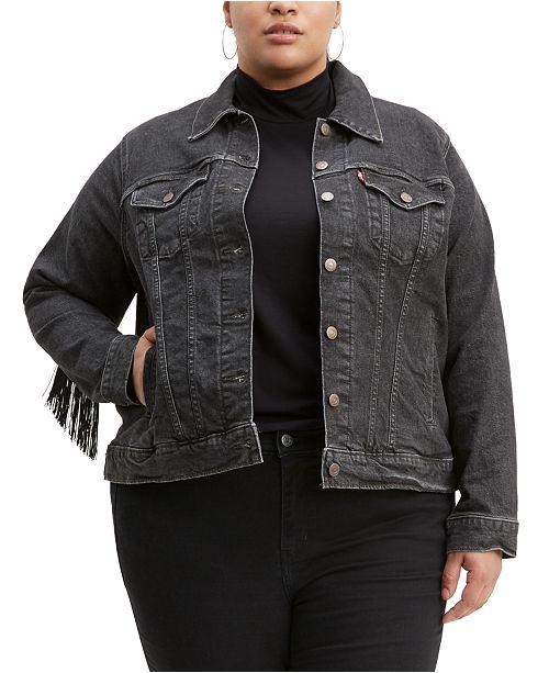 Levi's Trendy Plus Size  Ex-Boyfriend Cotton Trucker Jacket