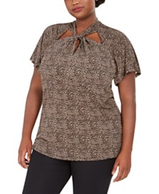 Michael Michael Kors Plus Size Leopard-Print Twist-Neck Top