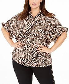 Plus Size Animal Print Ruffle-Cuff Blouse