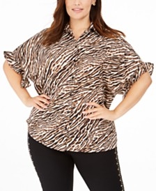 Michael Michael Kors Plus Size Animal Print Ruffle-Cuff Blouse