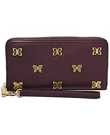 RFID Logan Butterfly Leather Zip Wallet