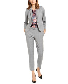 Calvin Klein Windowpane Plaid Jacket, Printed Blouse & Skinny Pants