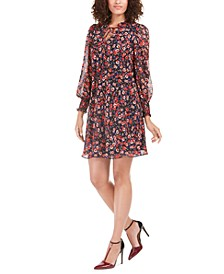 Floral-Print Tie-Neck Dress