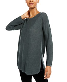Curved-Hem Merino Wool Sweater